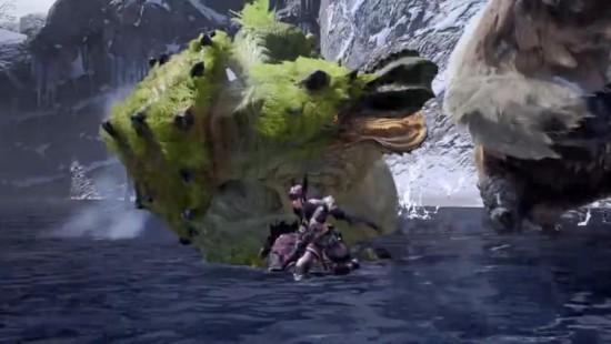 《怪猎崛起》河童蛙大战雪鬼兽 好惨被按在地上摩擦