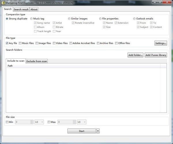 Manyprog Find Duplicate Files(重复文件查找软件)下载