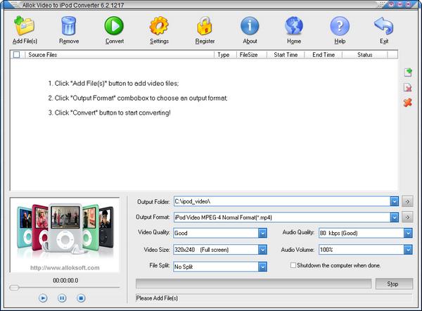 Allok Video to iPod Converter(视频转换为iPod格式)下载
