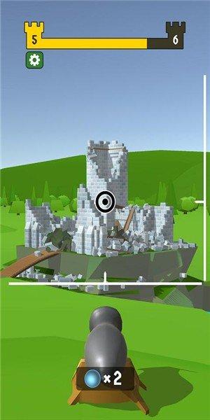 大炮射击摧毁城堡
