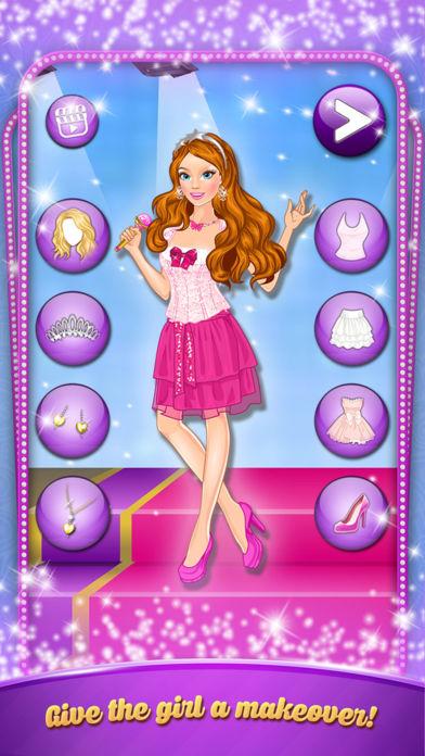 卡拉 Ok 晚会: 女孩打扮。打扮时尚服装的歌星。软件截图1