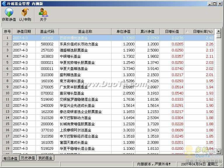 冷雨基金管理(自动计算基金净值)下载