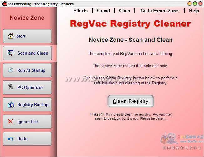 RegVac Registry Cleaner(注册表吸尘器)下载