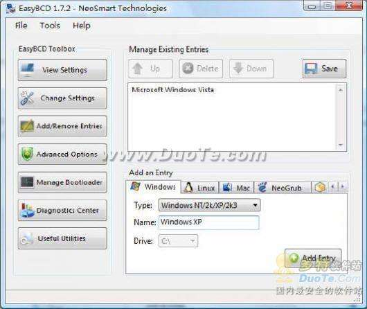 EasyBcd修复Vista和XP双启动问题