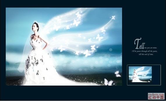 PS照片特效基础教程之打造梦幻的天使婚片