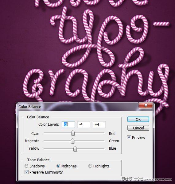 Photoshop制作可爱的糖果条字体效果