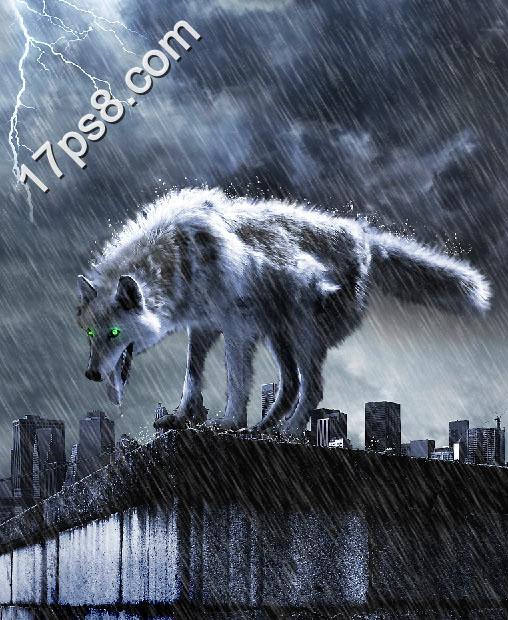 ps照片合成-暴风雨中的饿狼