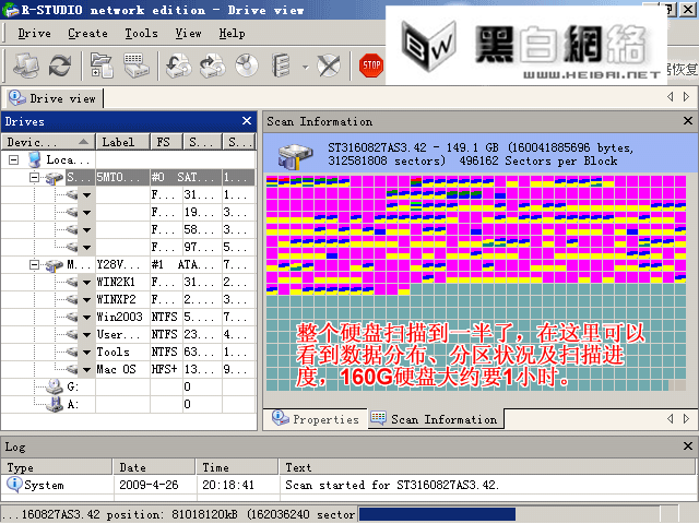 R-Studio里可以看到数据分布,分区状况及扫描进度