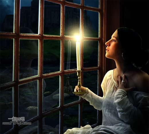 ps照片合成-打造窗前烛光美女