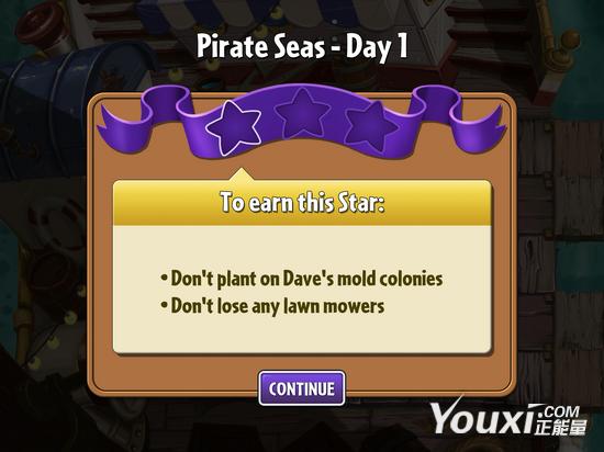 《植物大战僵尸2》海盗第一关教程1星版