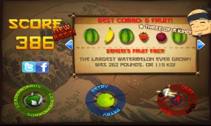 《水果忍者》禅模式386高分心得加截图