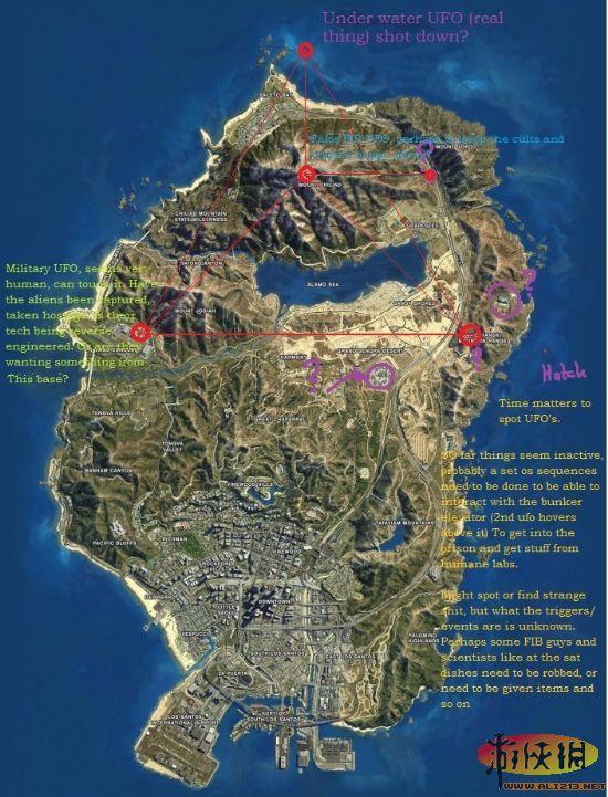 《侠盗猎车手5》各大飞碟位置图示