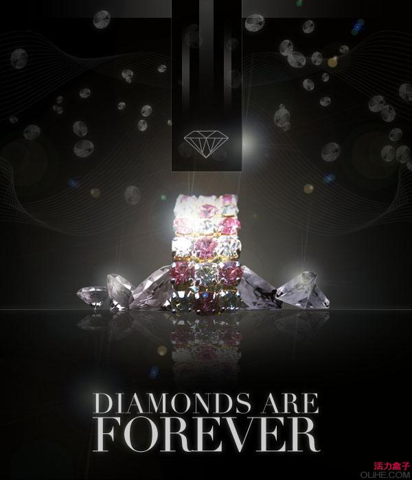 PS合成华丽漂亮的宝石广告海报