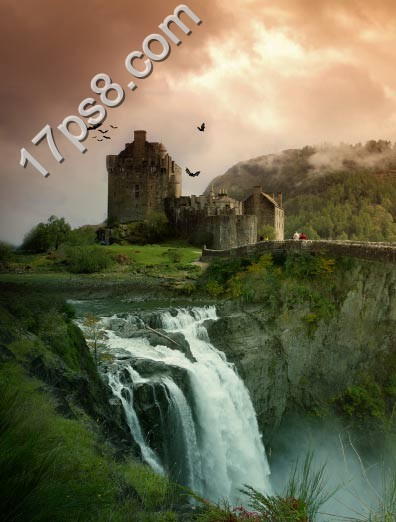 用PS合成荒野中的破旧城堡图片
