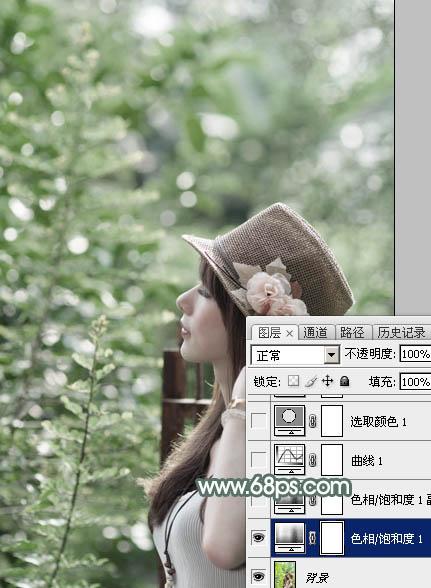用PS调出古典墨绿色彩效果的女生图片