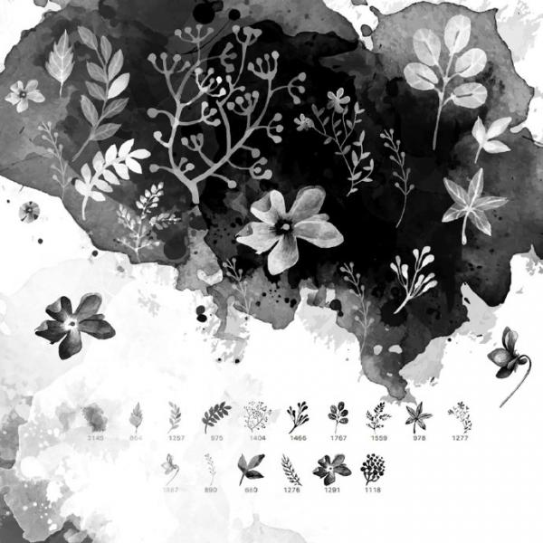 PS9套388款花纹花圈图案设计系材笔刷免费下载