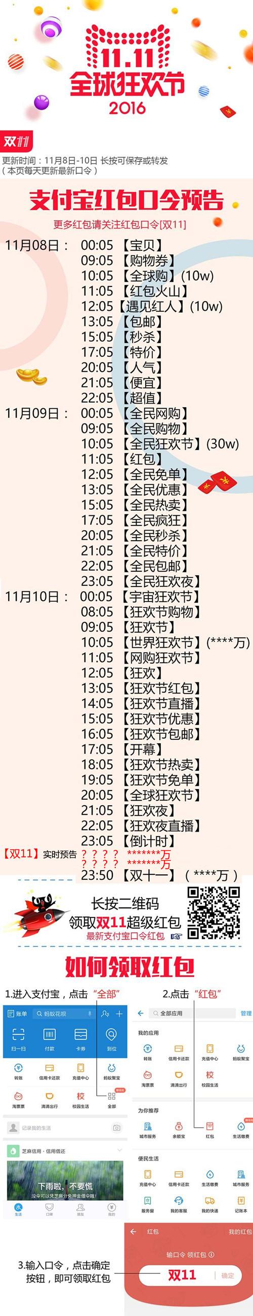 2016双11支付宝红包口令11月8日汇总_附9、10日口令预告